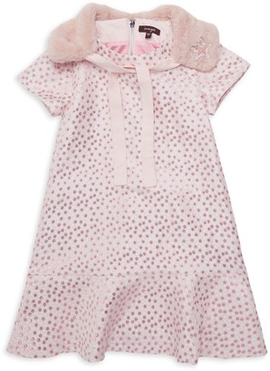 Imoga Little Girl's & Girl's 2-Piece Faux Fur Collar & Shift Dress Set