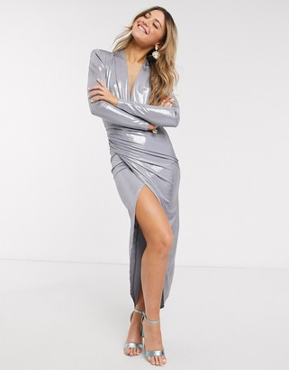 John Zack wrap front maxi dress in silver
