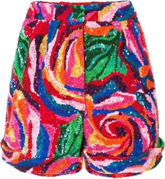 Manish Arora rose pattern sequinned shorts