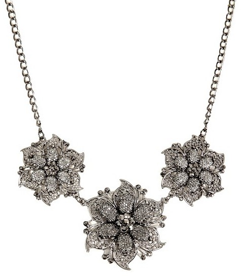 Hematite Rhinestone And Caviar 3 Flower Necklace