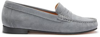 Hugs & Co Womens Penny Loafers Leather Sole Slate Grey Suede