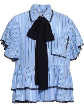 MSGM Lace-trimmed Tiered Striped Poplin Shirt