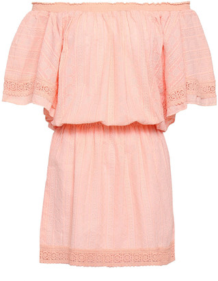 Melissa Odabash Michelle Off-the-shoulder Embroidered Cotton-gauze Mini Dress