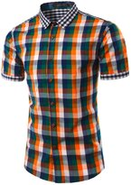 TUNEVUSE Men's Casual Slim Fit Plaids Shirts Short Sleeve Dress Shirt US M