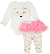 Baby Essentials White & Pink Fox Tee & Skirted Leggings - Infant