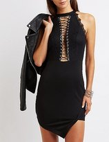 Charlotte Russe Lace-Up Asymmetrical Dress