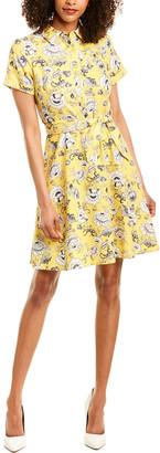 London Times Linen-Blend Shirtdress