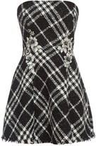 Embroidered Bandeau Skater Dress In Boucle