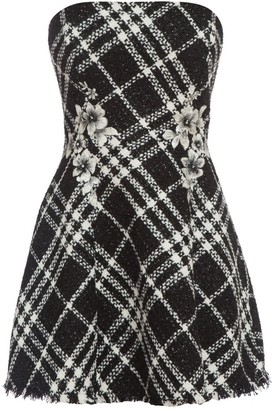 Cliché Reborn Embroidered Bandeau Skater Dress In Boucle