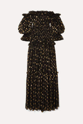 Dolce & Gabbana Off-the-shoulder Polka-dot Metallic Fil-coupe Silk-blend Chiffon Gown - Black