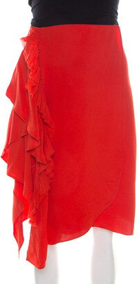 3.1 Phillip Lim Paprika Red Silk Cascading Ruffle Fringed Asymmetric Skirt S