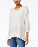 Style&Co. Style & Co. Crochet-Trim Handkerchief-Hem Top, Only at Macy's