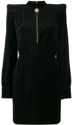 Balmain High Neck Velvet Dress