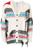 MSGM Men's White Cotton Cardigan.