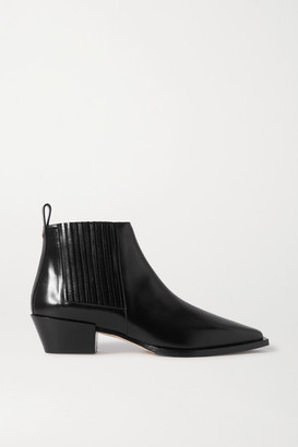 AEYDĒ Bea Leather Ankle Boots - Black
