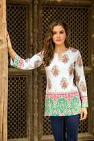 Cotton Block Print Tunic with Beadwork and Sequins, 'Beautiful Jaipur'
