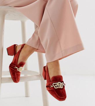 Asos Design DESIGN Wide Fit Worship square toe heeled loafers in orange