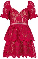Self-Portrait Self Portrait Red Floral Guipure Lace Mini Dress