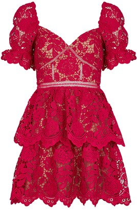 Self-Portrait Red floral guipure lace mini dress