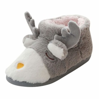 TEELONG Girls Ladies Cute Slippers Warm Winter Indoor Home Soft Plush Ball Interior Short Boots Christmas Shoes Grey Pink Size 3 4 5 UK