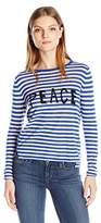 Velvet by Graham & Spencer Women's Lux Cotton Stripe Longsleeve Peace Sweater