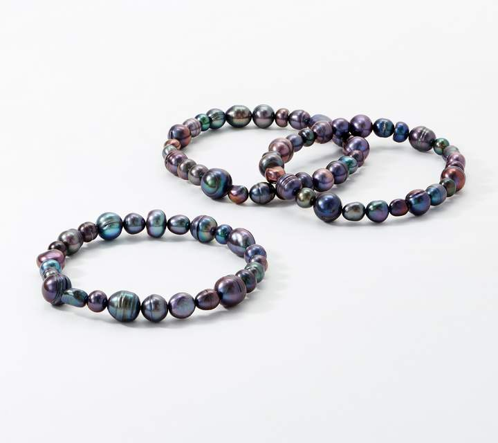 Honora Set of 3 Cultured Freshwater Pearl Stretch Bracelets
