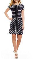 Calvin Klein Mitered Stripe Knit Jersey Shift Dress