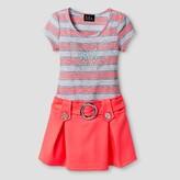 LILT Girls' Lilt Striped Bodice Dress with Scuba Flippy Skirt & Butterfly - Coral /Grey