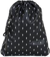 Neil Barrett Bolts Faux Leather Drawstring Backpack