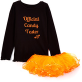 Beary Basics Black 'Candy Tester' Tee & Orange Tutu - Infant Toddler & Girls