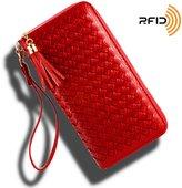 Women RFID Blocking Leather Tassel Wristlet Clutch Zipper Wallet with Strap for Checkbook/Phone/credit card [KARNI SOUL]