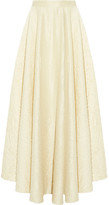 The Row Lea Fluted Crinkled Wool-blend Maxi Skirt - Cream