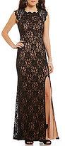 Jodi Kristopher High Neck Jeweled Cap Sleeve Open-Back Lace Long Dress