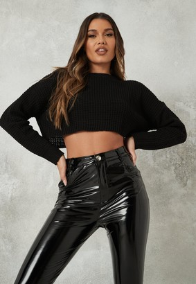 Missguided Black Super Cropped Knitted Jumper
