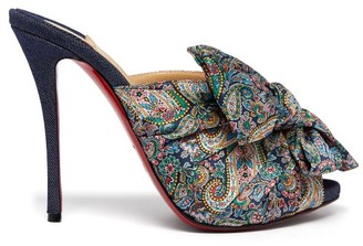 Christian Louboutin Moniquissima 120 Paisley Satin And Denim Mules - Womens - Blue Multi