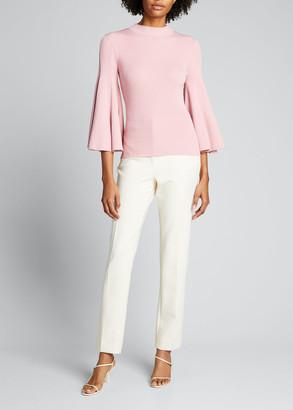 Oscar de la Renta Knit 3/4-Flare-Sleeve Pullover