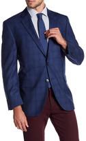 Peter Millar Blue Windowpane Notch Collar Two Button Classic Fit Wool Sports Coat