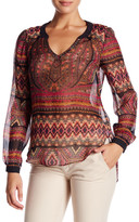 Hale Bob Embellished Long Sleeve Silk Tunic