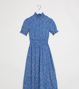 Wednesday's Girl midi dress with shirred waist in ditsy floral
