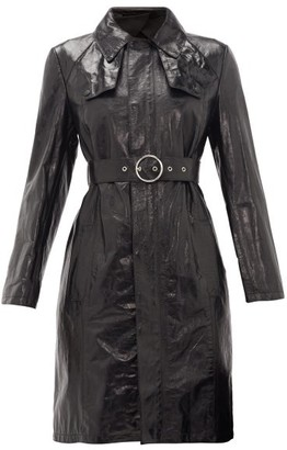 Maison Margiela Belted Leather Trench Coat - Womens - Black