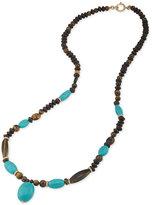 Lauren Ralph Lauren Gold-Tone Wooden Bead and Blue Stone Long Statement Necklace