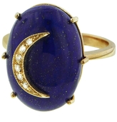 Andrea Fohrman Oval Lapis Diamond Crescent Moon Ring