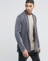 Asos Super Longline Cardigan In Heavy Rib With Acid Wash