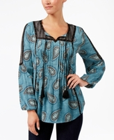 Style&Co. Style & Co Style & Co Petite Paisley-Print Peasant Top, Created for Macy's