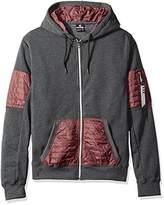 Southpole Men's Long Sleeve Hooded Full Zip Fleece Sweatshirt With Utility Pocket