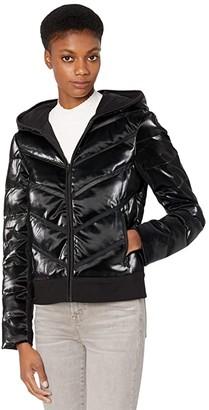 Blanc Noir Freestyle Mesh Inset Puffer (Black) Women's Clothing