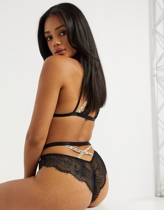 We Are We Wear delicate eyelash lace strappy brazilian knicker in black and pink