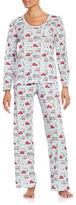 Carole Hochman Cotton Jersey Christmas-Print Long-Sleeve Top and Pants Pajama Set