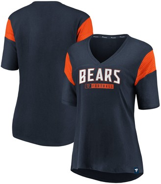 Women's NFL Pro Line by Fanatics Branded Navy Chicago Bears Iconic Mesh Piecing V-Neck T-Shirt