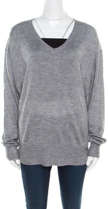 Isabel Marant Melange Grey Cashmere Silk V Neck Sweater M